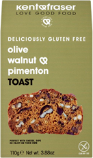 Olive, walnut and pimento toast
